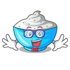 Geek sour cream in a wooden bowl cartoon