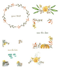 frameset / Autumn Love Sales Watercolor Floral Background Set. Illustration with text, flat banner with colorful foliage. Useful layout for discount labels, flayer, shopping, web, ads, web