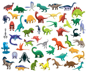 Various Cute Colorful Dinosaur Characters Cartoon Vector