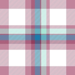 Tartan seamless plaid pattern illustration in red, pink, blue and white combination for textile design