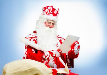 Santa Claus on blue background. Ded moroz