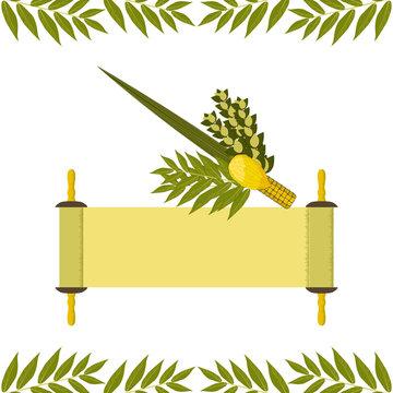 Sukkot. Judaic holiday. Traditional symbols - Etrog, lulav, hadas, arava. Torah scroll.