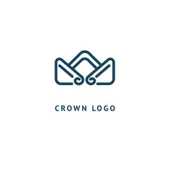 Abstract vetor crown logo vector design. Sign for beauty salon, elite accessories, jewelry, hotels, spa, wedding. Vintage decorative icon qween, king, princess.