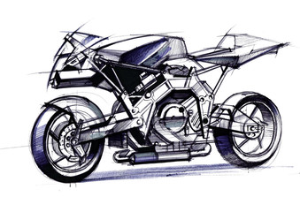 Illustration of the development of a motorcycle project for a city on electric motors.