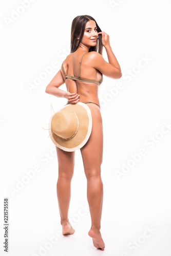 Rear View Back Of Young Beautiful Woman Brunette Isolated On White Background Wearing Summer Beach Hat