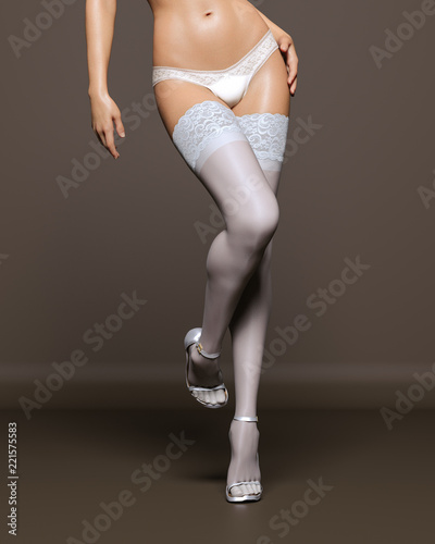 c3a9b97a5 3D Beautiful female legs white stockings and panties dark background.Woman  studio photography.High heel.Conceptual fashion art.Seductive candid pose.