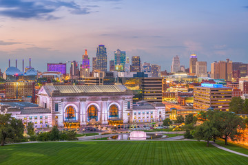 Fototapete - Kansas City, Missouri, USA Skyline