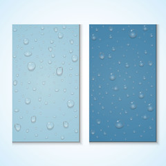 Set of vertical banners with realistic pure clear water or steam drops. Vector isolated illustration on transparent blue background.