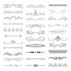 Set of hand drawn vector dividers, lines, borders and laurels. Vector isolated elements.