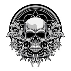 Floral Skull vector illustration on white background
