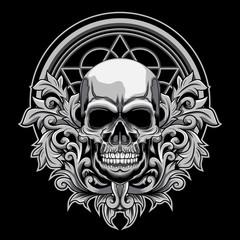 Poster Aquarel Schedel Floral Skull vector illustration on dark background