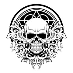 Floral Skull vector illustration black and white on white background