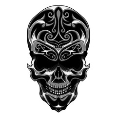 A skull head with floral carve vector illustration