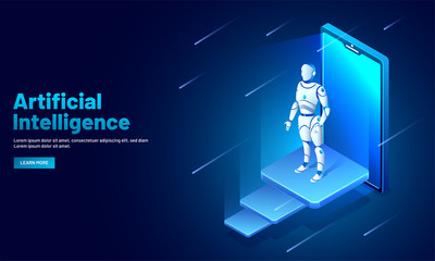 Artificial intelligence (AI) web template design, isometric smartphone with robotic organism for machine learning concept.