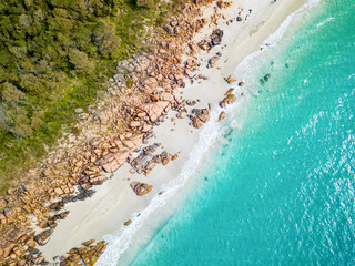 Wall Murals Turquoise Aerial photo of Meelup Beach with clear turquoise water near Dunsborough in the South West region of Western Australia, Australia.
