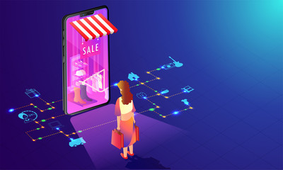 Online Shopping store in smartphone with multiple services and woman shop online on shiny blue background.