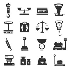 Scales icon set, weight pictogram collection in black