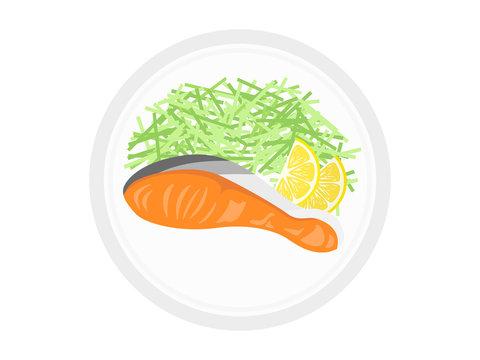 皿に盛られた鮭の切り身のイラスト
