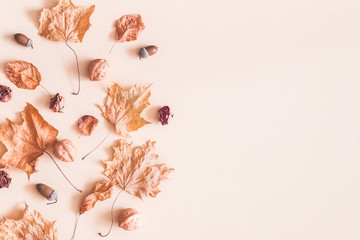 Autumn composition. Frame made of autumn dried maple leaves on pastel beige background. Flat lay, top view, copy space