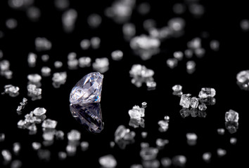 diamond on black background with reflection