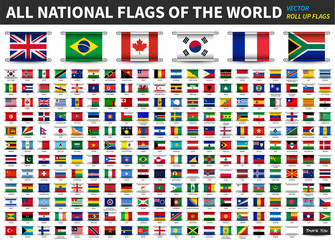 All official national flags of the world . Roll up design . Vector