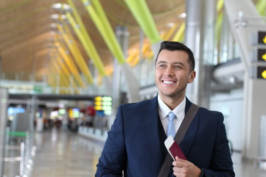 Foreign businessman happy with his legal work permit