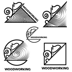 """an illustration consisting of several images of a planer plowing tree and the inscription """"woodworking"""""""