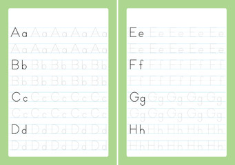 Alphabet letters tracing worksheet with alphabet letters. Number Formation Activity Sheets for kindergarten kids A4 paper ready to print vector