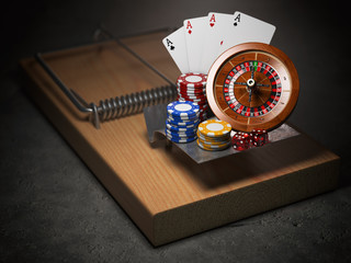 Gambling addiction concept. Mousetrap with casino roulette, chips, dice and playing cards.