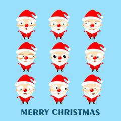 Set of cute cartoon Santa Claus on blue background. Christmas emoji. Vector illustration