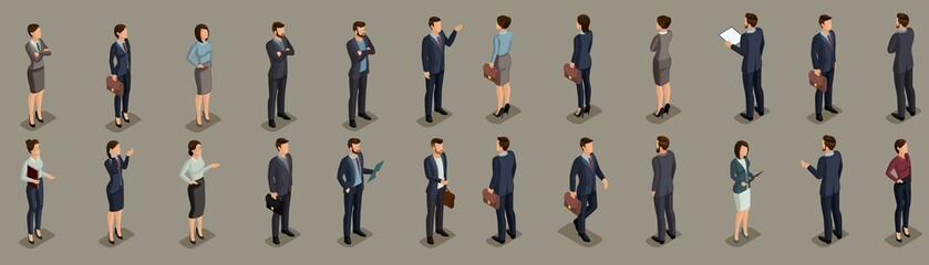 Isometric People businessmen, businessman and business woman, people in business suits during work, front view rear view isolated on a dark background. Vector illustration