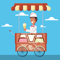 ice cream salesman in cart kiosk character