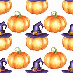 Seamless pattern with pumpkins in hat. Watercolor background