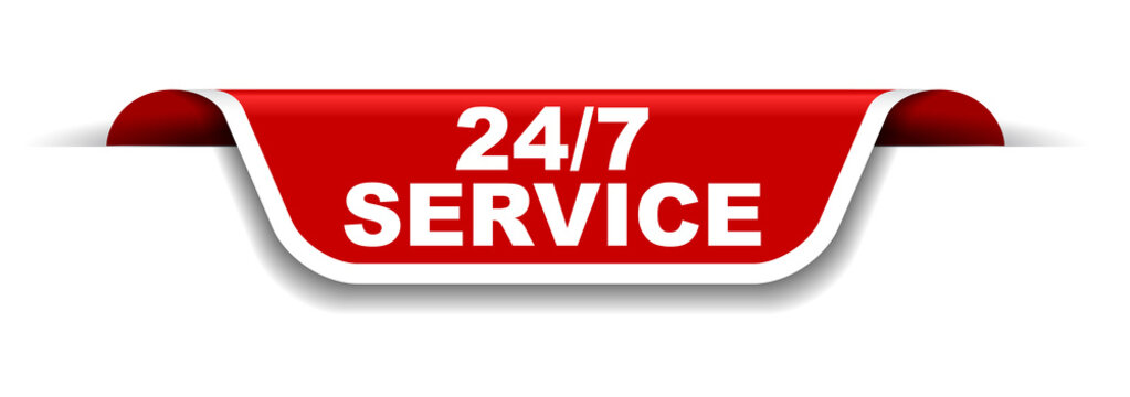 red and white banner 24/7 service