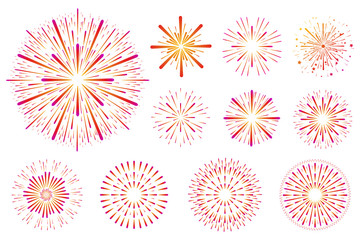 Set of festive colored fireworks isolated on white background