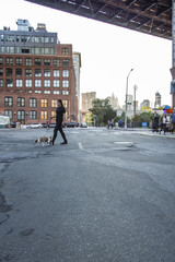 Woman walking dog across street in the DUMBO neighborhood of Brooklyn in New York City