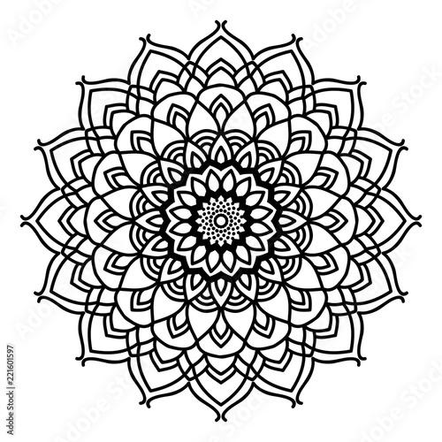 Mandala flower freehand drawing vintage style decorative