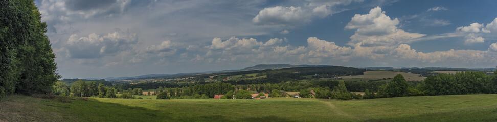 Obraz Landscape near Trosky castle in summer very hot day - fototapety do salonu