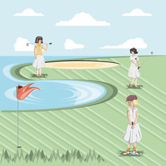 golf player women in the course