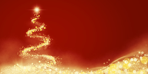 Christbaum aus goldenen Lichtern zu Weihnachten