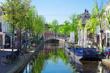 street with canal in Delft old town in Holland, Netherlands
