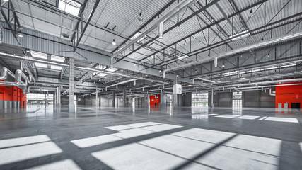 empty market hall, steel and concrete.