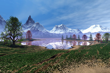 Snowy mountains, an alpine landscape, beautiful trees, reflection on water and a blue sky.