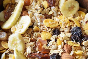 healthy breakfast, muesli of oatmeal for breakfast with milk