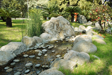 The creek with water in the park among the stones in summer