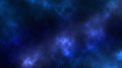 Space nebula clouds with stars aurora blue bright