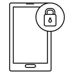 smartphone device with padlock