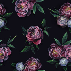 Seamless pattern of peony flowers and leaf on black background