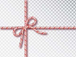 Christmas Candy gift tying isolated . Blank Christmas design, realistic red and white twisted cord frame. New Year 2019. Holiday design, decor. Vector illustration