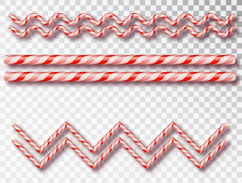 Christmas Candy border isolated . Blank Christmas design, realistic red and white twisted cord frame. New Year 2019. Holiday design, decor. Vector illustration